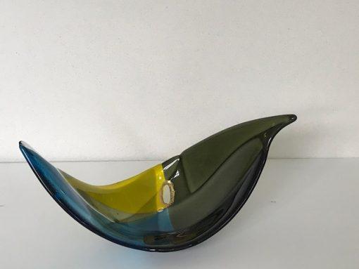 Vogel van glas met bladgoud made By Vic uit Vught Noord-Brabant